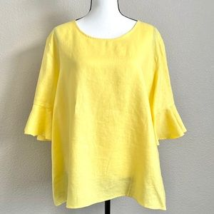 For Cynthia Linen Ruffle Sleeve Plus Size Top